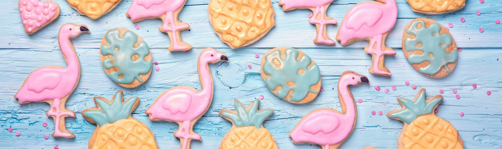 Flamants roses et biscuits ananas