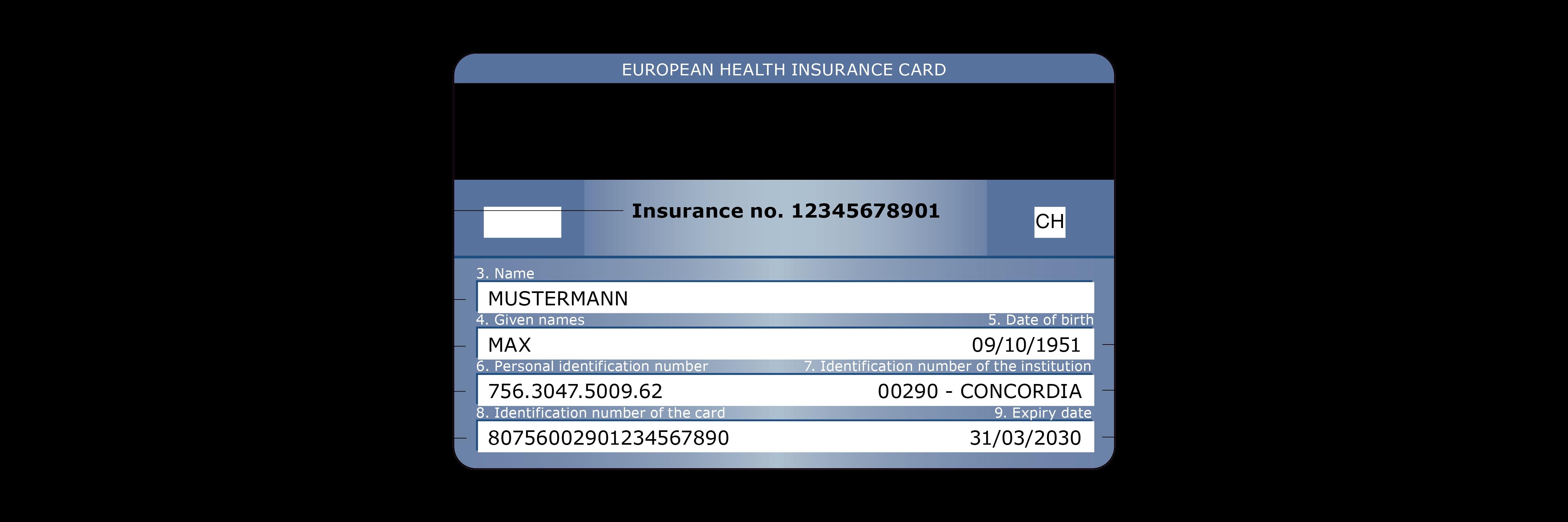 Carte Assurance Maladie Naissance.Concordia Carte Europeenne D Assurance Maladie Au Verso